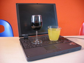 Wine, lemonade and laptop